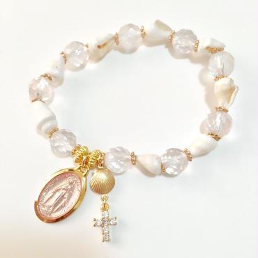 ピンクマリアメダイ × ジルコニアクロス  シェル&ローズクォーツのブレスレット