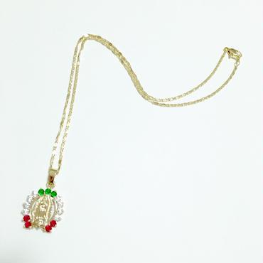 グアダルーペのマリア × メキシコカラー ラインストーン の ホースシュー型 ペンダント