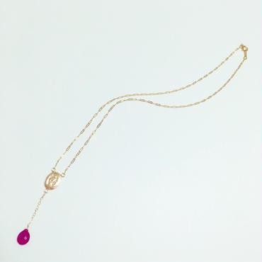 再販!宝石質ルビー ペアシェイプ ブリオレットカット のロザリオ型 ネックレス 14kgf