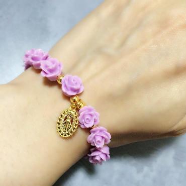 メダイ × rose ブレスレット  パープル