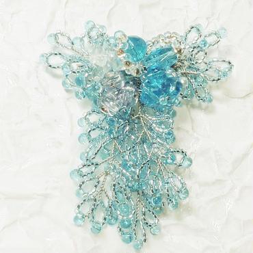 藤の花のコサージュ・ブローチ(ブルー)