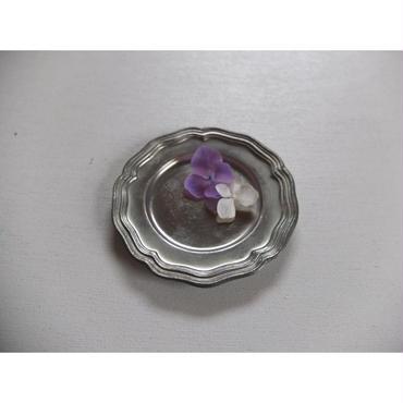 ピューター製の花リム小皿(B)