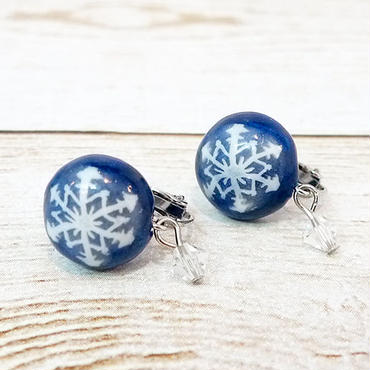 【 耳飾り 】雪のかけらイヤリング 貼り付けタイプ no.534E