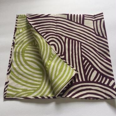 伊砂文様 両面チーフ 結 紫×グリーン