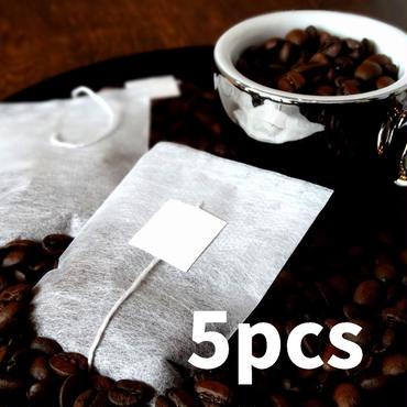 【5個入】★ディカフェコーヒーバッグ★手軽に簡単(除去率97%のJASオーガニック認証コーヒー豆を使用)