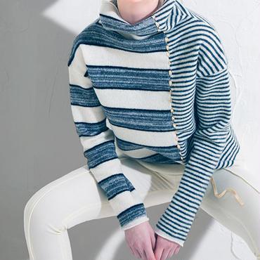 lambs knit ラムボーダーオフタートル
