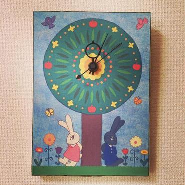 ☆SALE☆ファブリックパネル時計『待ち合わせの木』