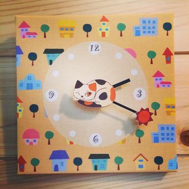 ☆SALE☆ファブリックパネル時計『ひなたぼっこのミケネコ』