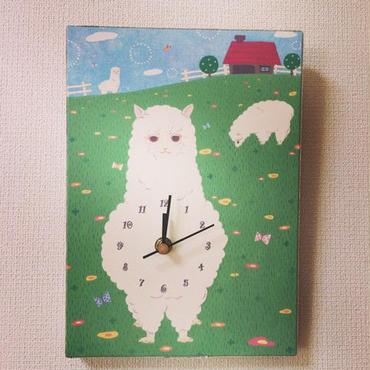 ☆SALE☆ファブリックパネル時計『もふもふ♡アルパカ』