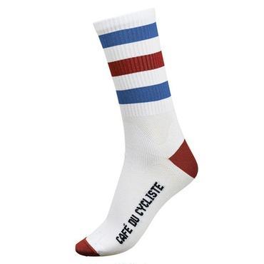 Café du Cycliste Striped Socks Red & Blue