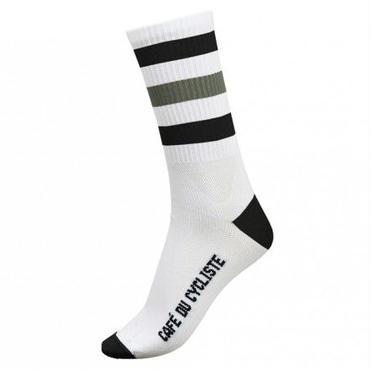 Café du Cycliste Striped Socks Black & Grey