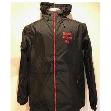 JK001-2  ナイロンフーデッドジャケット BLACK/RED
