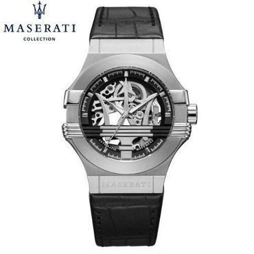 マセラティ 腕時計 メンズ 自動機械式 ハイブランド レザーストラップ シルバー