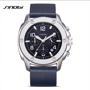 Sinobi  メンズ クォーツ腕時計  レザーバンド クロノグラフ 防水