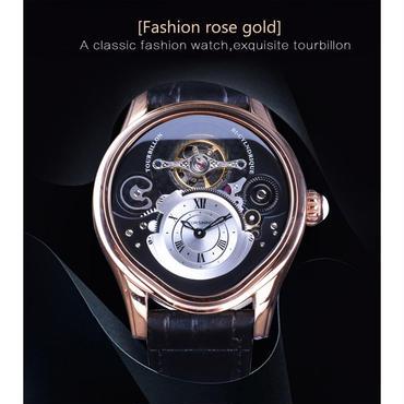 Forsining トゥールビヨン  自動巻き 機械式腕時計  ステンレス スケルトン レザー  ブラック・ゴールド