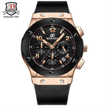 BINKADA クォーツ腕時計 クロノグラフ ラバーバンド ビッグバンエボリューションタイプ  ウブロ風