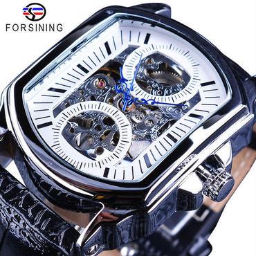 Forsining メンズ 機械式腕時計 レトロ クラシック レザーストラップ