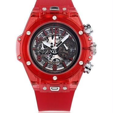 KIMSDUN スケルトン腕時計 メンズ クォーツムーブメント レッド  K-719-3