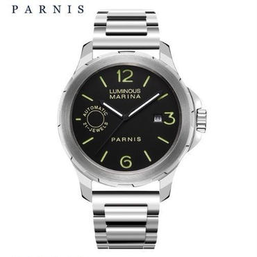 Parnis  自動機械式時計 44mm   サファイアクリスタル  ルミナスハンズ メンズ