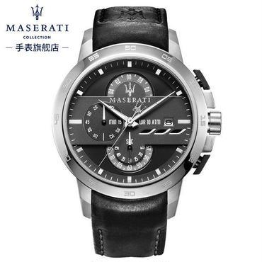 マセラティ 高級クオーツ腕時計 クロノグラフ シルバーブラック