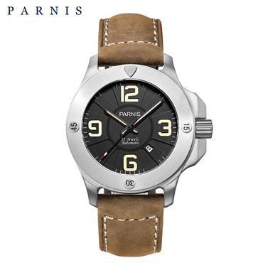 Parnis ミリタリー機械式腕時計 メンズ サファイアクリスタル