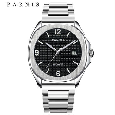 Parnis 自動巻き サファイアブラック 機械式時計 ステンレスバンド