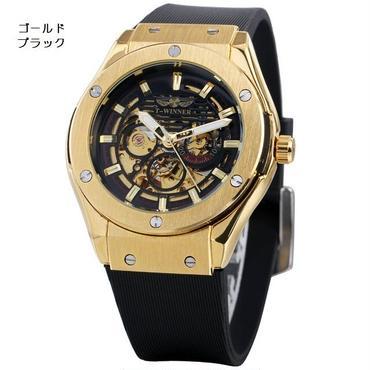 T-WINNER  メンズ 機械式腕時計 スケルトン 防水 ラバーバンド
