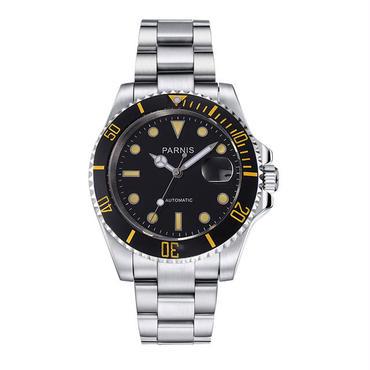 Parnis メンズ 機械式腕時計 防水 セラミックベゼル ステンレスバンド