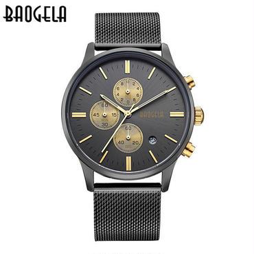 Baogela 腕時計 メンズ ゴールド ステンレス鋼 クォーツ