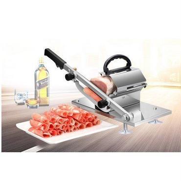 半自動ミートスライサー 業務用 自動送り出し手動肉切り機 冷凍肉スライス オールステンレス鋼