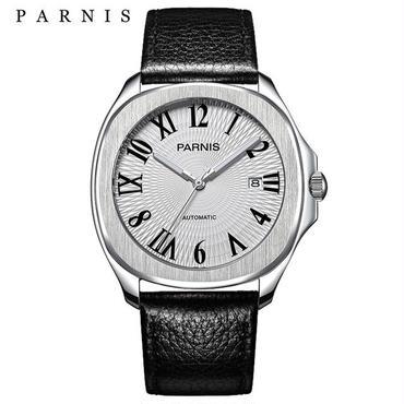 Parnis 自動巻き サファイアブラック 機械式時計 文字盤ローマ数字