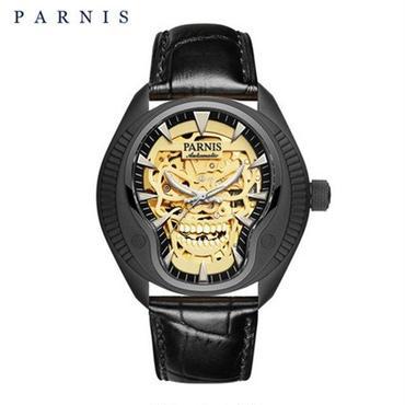 Parnis(パーニス ) スカル腕時計 ドクロデザイン スケルトン機械式 自動巻 発光  ゴールドスカルレザー