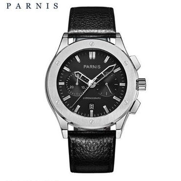 Parnis メンズ クォーツ腕時計 パイロットシリーズ 41mm レザーストラップ