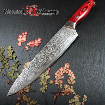 Grandsharp ダマスカス スチール ナイフ 柄:レッド