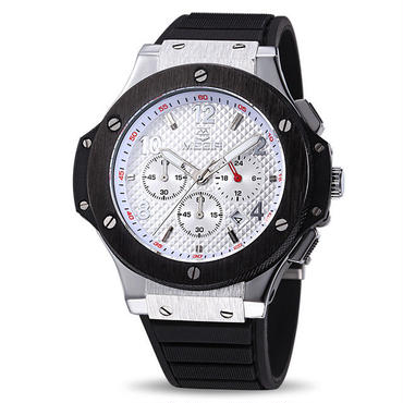 MEGIR メンズ腕時計 ウブロ風 ビッグバンタイプセラミック調ベゼル ラバーバンド クォーツ クロノグラフGBK-7