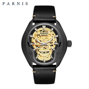 Parnis(パーニス ) スカル腕時計 ドクロデザイン スケルトン機械式 自動巻 発光  ゴールドスカルレザー4