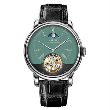 Karebo 自動巻き機械式腕時計 メンズ グリーンダイアル レザーストラップ