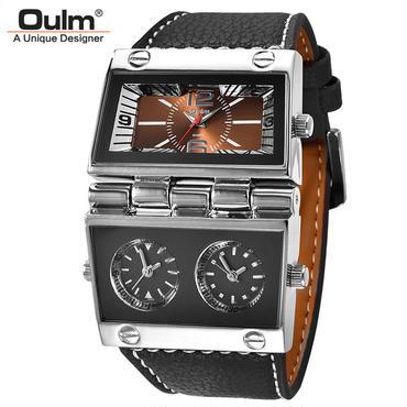 Oulm限定版 ユニークなクォーツ腕時計 大きなダイヤル
