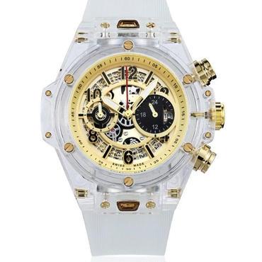 KIMSDUN スケルトン腕時計 メンズ クォーツムーブメント ホワイト・ゴールド  K-719-4
