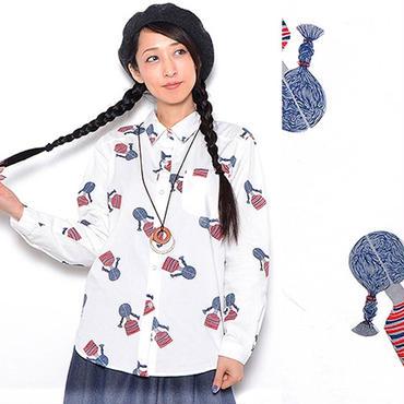 三つ編み女の子ブラウス 女の子ブラウス  三つ編み女の子シャツ  三つ編み女の子コットンブラウス コットンシャツ三つ編み女の子