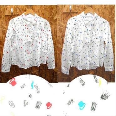 総柄プリントコットンシャツ  < ヒゲ ハット コットンブラウス コットンガーリーブラウス コットンシャツ ガーリーコットンシャツ ガーリーシャツ 手描きシャツ ナチュラル 綿シャ ツ白シャツ シロシャツ  シャツ ブラウス shirt blouse  >