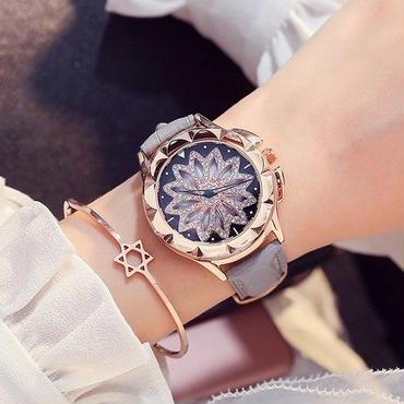 【5色】クォーツ腕時計 レディース ラインストーン 革 ジュエリー キラキラ デザインウォッチ ドレスウォッチ くるくる