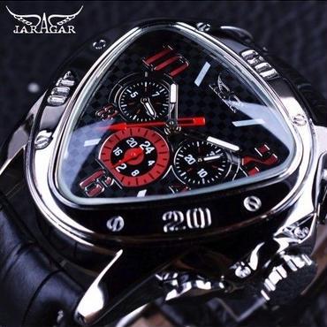 日本未発売!JARAGAR GMT951 メンズ 機械式腕時計 自動巻 ブラック×レッドダイアル 革バンド