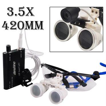 歯科外科医療双眼ルーペ光学ガラスルーペ3.5 X 420 mm +歯科ヘッドライトランプ