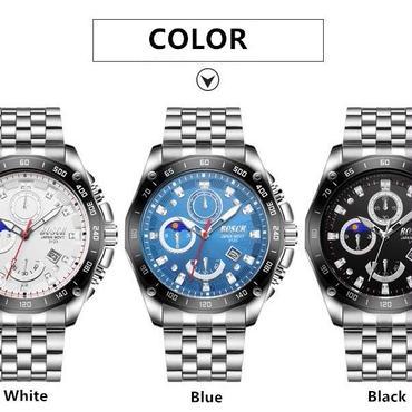Bosck メンズ腕時計 スチールストラップ スポーツ 多機能 クォーツ腕時計 防水機能 海外インポートブランド