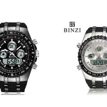 BINZIブランドスポーツ腕時計 ホワイト クロノグラフメンズ軍事防水腕時計ファッションシリコンLEDデジタル腕時計男性
