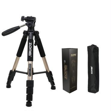 売筋 ZOMEI 旅行用軽量アルミ製 4段三脚 3WAY 雲台 Nikon Canon ゴールド Sony一眼レフビデオカメラなど用 Q111