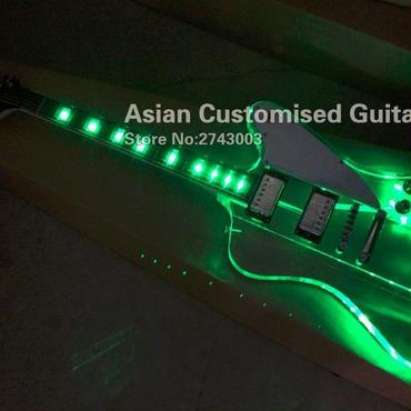 アクリルギター ledライト 光る 本体 クリア 透明 白ホワイトピックガード 40インチ