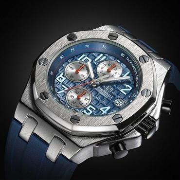 海外高級ブランド メンズクォーツ時計 クロノグラフ ブルー ラバーストラップ 海外人気商品!