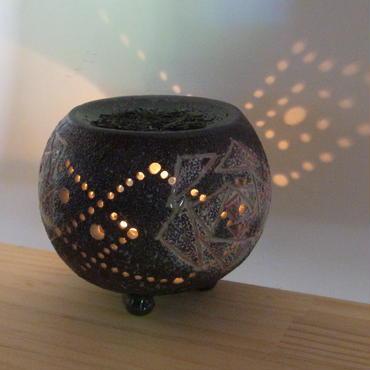 茶香炉 黒泥彫バラ